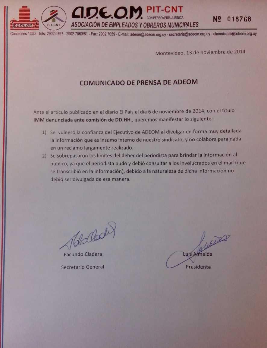 Comunicado de Prensa de Adeom 13/11/2014